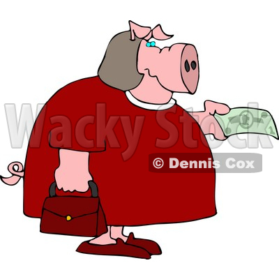 Human-like Fat Female Pig Purchasing Food with Money Clipart © djart #4906