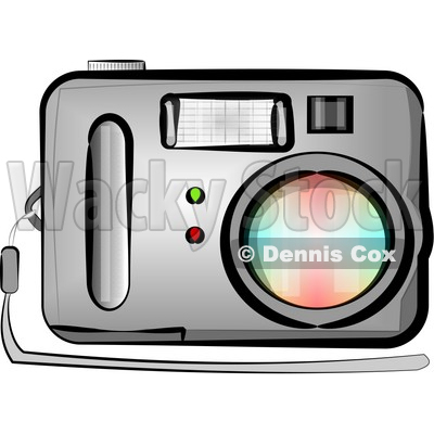 Standard Point and Shoot Digital Camera with Flash Clipart by Dennis Cox