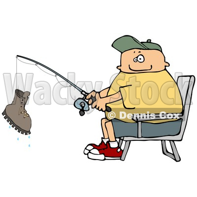 Fisherman Catching a Boot with a Fishing Pole Clipart © djart #4916