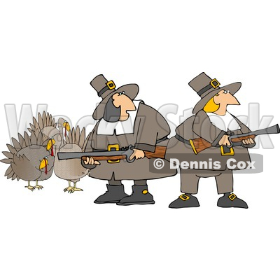 Humorous Pilgrim Women Armed with Turkey Bird Hunting Musket Guns Clipart © djart #4920