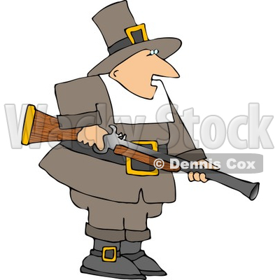 Pilgrim Man Hunting for Wild Turkey Clipart © djart #4921