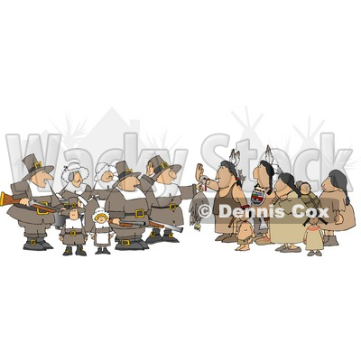 Unpredictable Group of Pilgrims Offering a Dead Turkey to Indians Clipart © djart #4926