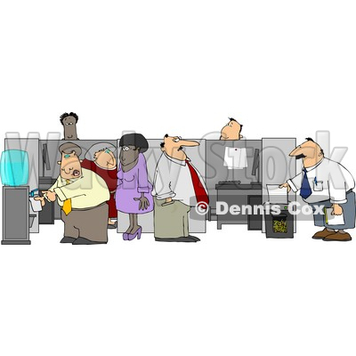 Caucasian and African American Office Employees Doing Their Daily Routine Clipart © djart #4942