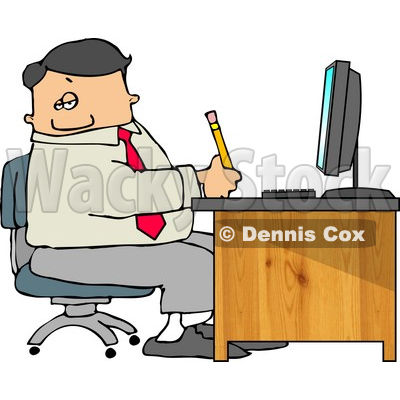 Business Man Filling out Paperwork at Wood Computer Desk in His Office Clipart © djart #4943