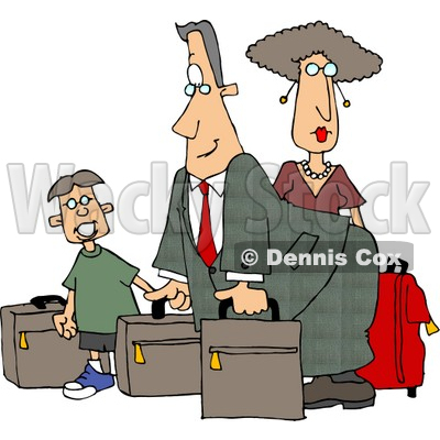 Dad Mom And Son Going On Vacation Clipart