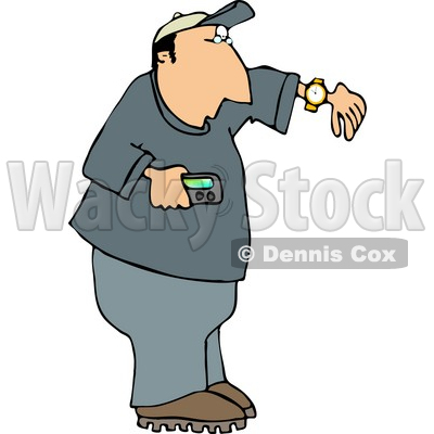 Man Holding a Vibrating Pager and Checking the Time On His Wrist Watch Clipart © djart #4959