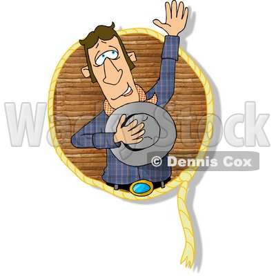Happy Lariat Cowboy Waving His Hand to the Crowd Clipart © djart #4963