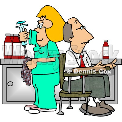 Nurse Cleaning Needle After Drawing Blood Samples from Male Patient Clipart © djart #4968
