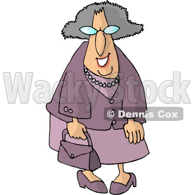 Funny Elderly Woman Going Shopping Clipart © djart #4969