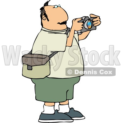 Overweight Man Taking Pictures with a Digital Camera ...