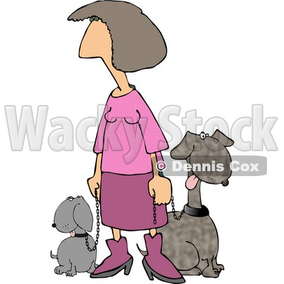 Pink Lady Taking Her Two Happy Dogs for a Walk Around the Block Clipart © djart #4978