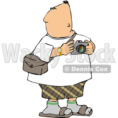 Tourist Looking Around with a Camera In His Hand Clipart © djart #4980