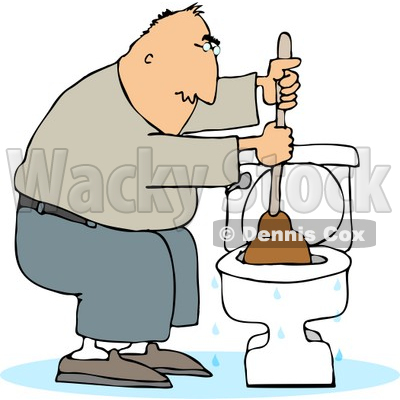 Man Plunging a Clogged Toilet Clipart © djart #4989