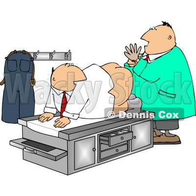 Humorous Male Doctor Giving Patient a Prostate Examination Clipart ...