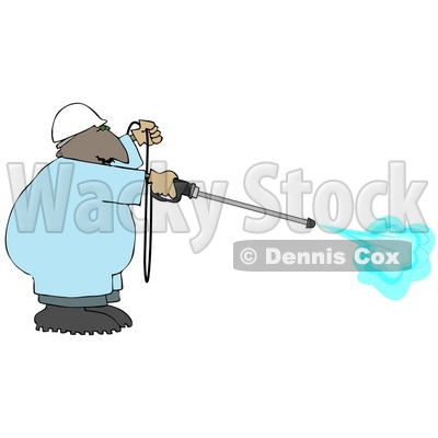 African American Man Using a High Powered Water Pressure Washer Clipart © djart #5012