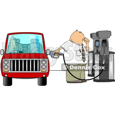 Fuel Attendant Pumping Unleaded Gas Into a Woman's Car Clipart © Dennis Cox #5016