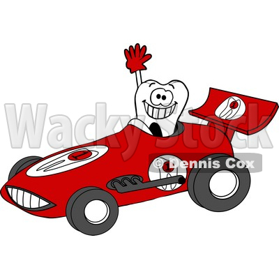 Smiling Tooth Driving a Race Car Clipart © djart #5032