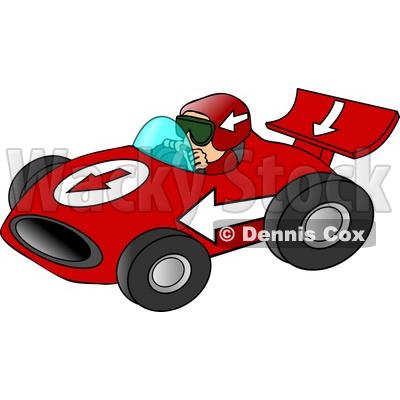 Driving A Fast Race Car Down A Speedway Clipart C Djart
