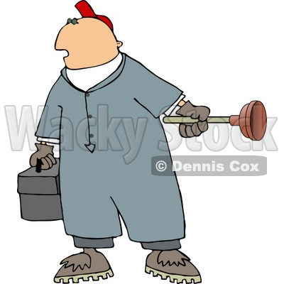 Plumber Man Holding A Toolbox And Toilet Plunger Clipart