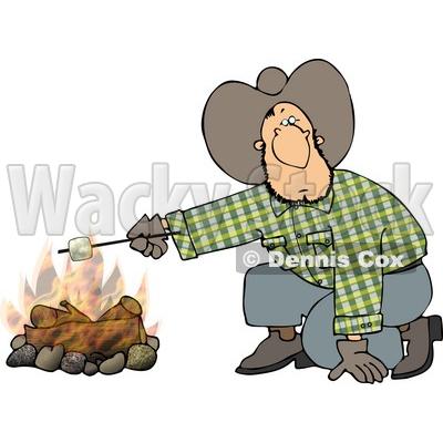 Cowboy Man Roasting A Marshmallow Over Campfire Clipart By Djart