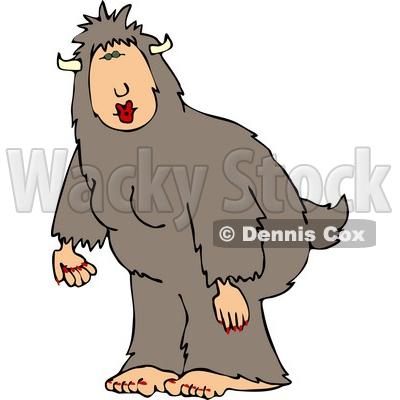 Wearing a Halloween Bigfoot Costume Clipart © djart #5065