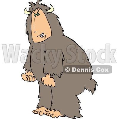Mad Man Wearing a Halloween Bigfoot Costume Clipart © djart #5066