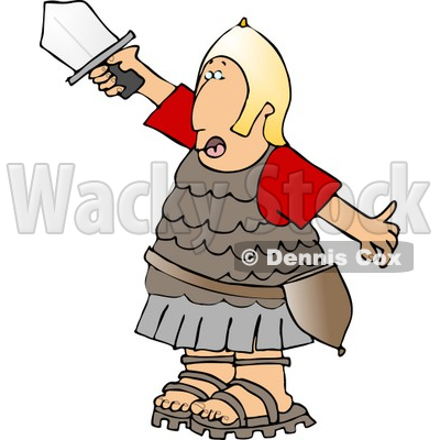 Roman Army Soldier Going Into Battle with a Sword Clipart © djart #5075