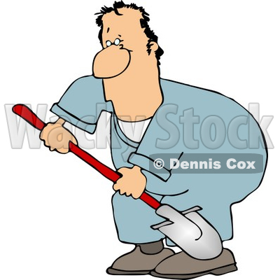 Man Digging Hole with Shovel Clipart © Dennis Cox #5086