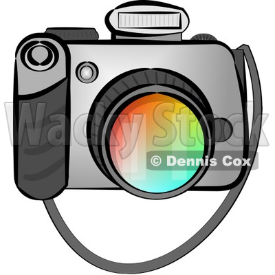 Digital SLR Camera with Flash Clipart by Dennis Cox