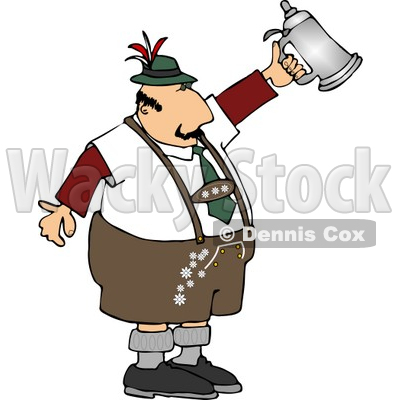 Man Celebrating Oktoberfest with a Traditional Beer Steins Clipart © djart #5112