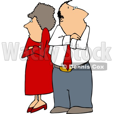 Fighting Couple (husband & wife) Standing with Arms Crossed Clipart © djart #5121