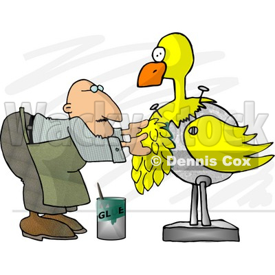 Male Taxidermist Working On a Big Yellow Bird Clipart © djart #5128