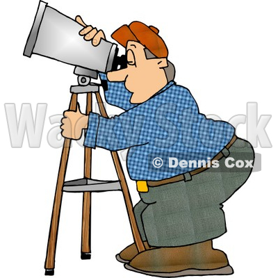 Man Looking Through a Telescope Clipart © djart #5130