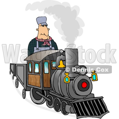 Male Train Engineer Driving and Operating a Train Clipart © djart #5138