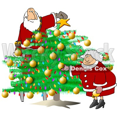 Santa & Wife Decorating Christmas Tree Clipart © djart #5156