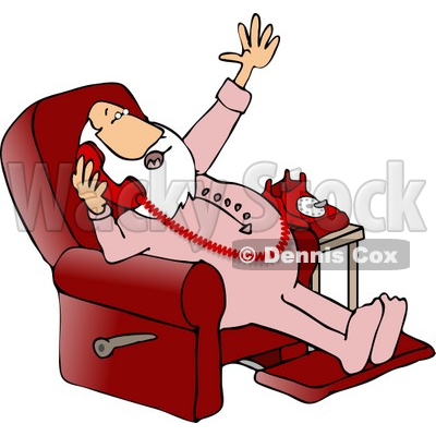 Santa Talking On a Phone While Sitting in a Reclined Chair Clipart © djart #5159