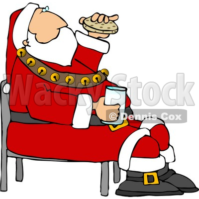 Santa Eating Chocolate Chip Cookies and Drinking Milk Clipart © djart #5174