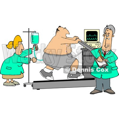 Obese Patient Hooked Up to Medical Machines While Running On a Treadmill and Being Cared for by Doctors & Nurses Clipart © djart #5188