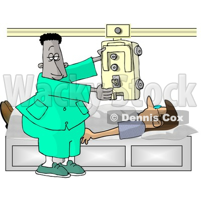African American Male Doctor Taking an X-ray of His Patients Chest Clipart © djart #5189