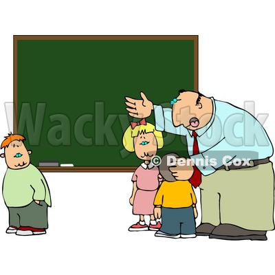Elementary Male School Teacher Explaining to Students In Front of a Chalkboard Clipart © djart #5194