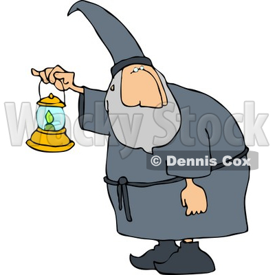 Old Wizard Walking Around at Night with a Lit Lantern Clipart © djart #5201