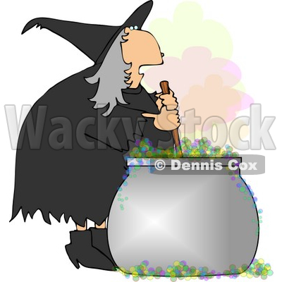 Wicked Witch Stirring a Magical Potion in a Cauldron with a Wooden Spoon Clipart © djart #5204