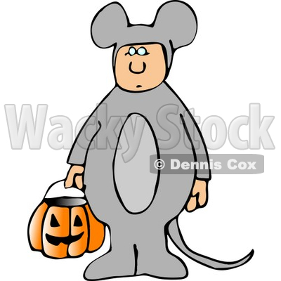 Wearing Halloween Mouse Costume While Trick-or-treating with Candy ...