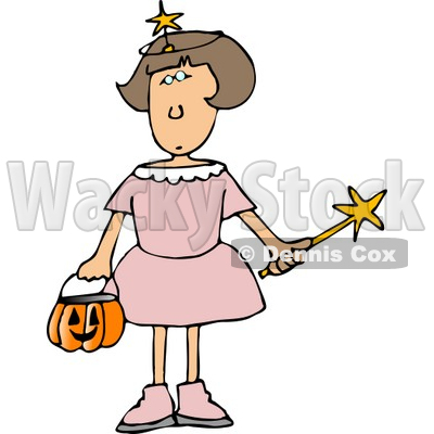 Girl Wearing Halloween Fairy Godmother Costume While Trick-or-treating Clipart © djart #5213