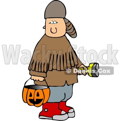 Boy Wearing Halloween Davy Crockett Costume While Trick-or-treating Clipart © djart #5214