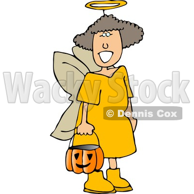 Girl Wearing Halloween Angel Costume While Trick-or-treating Clipart © djart #5216