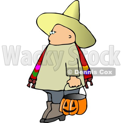 Boy Wearing Halloween Sombrero Costume While Trick-or-treating Clipart © djart #5219