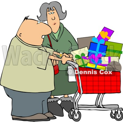 Husband and Wife Shopping Together for Christmas Presents at a Toy Store Clipart © djart #5222