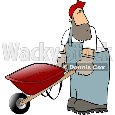 Man Pushing an Empty Wheelbarrow Clipart © djart #5233