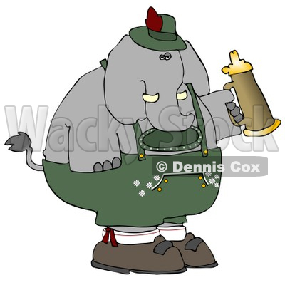 Humorous Elephant Holding a Beer Stein While Celebrating Oktoberfest - Holiday Clipart © djart #5235